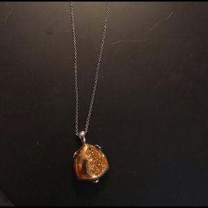 JTV goldtone shiny druzy pendant necklace